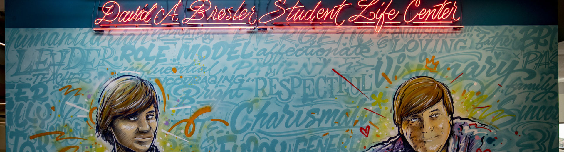 A mural at the entrance to the David A. Bresler Student Life Center.
