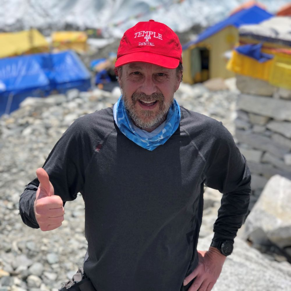 Dr. Bruce Terry, a Dental School alumnus, on the top of Mount Everest.